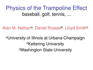 Physics of the Trampoline Effect baseball, golf, tennis, ...