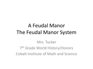 A Feudal Manor The Feudal Manor System