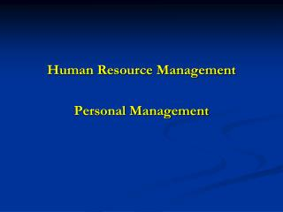Human Resource Management Personal Management