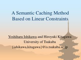 A Semantic Caching Method Based on Linear Constraints