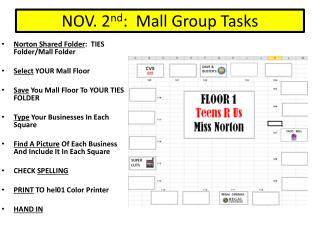NOV. 2 nd :  Mall Group Tasks