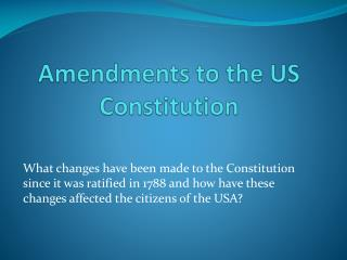 Amendments to the US Constitution