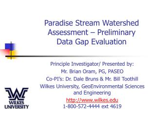 Paradise Stream Watershed Assessment – Preliminary  Data Gap Evaluation
