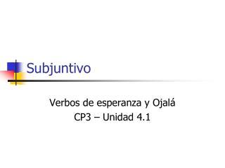Subjuntivo