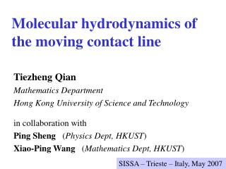 Molecular hydrodynamics of  the moving contact line
