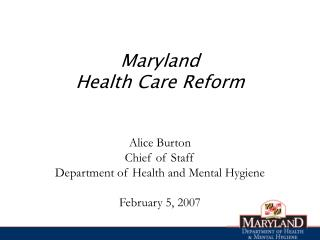 Maryland Health Care Reform