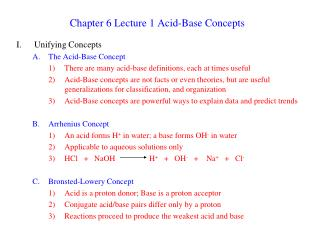 Chapter 6 Lecture 1 Acid-Base Concepts