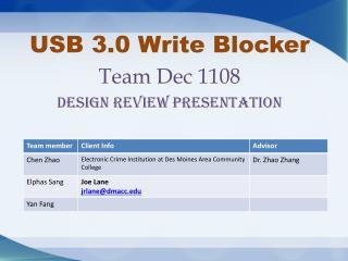 USB 3.0 Write Blocker Team Dec 1108 Design review presentation