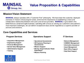 Mission/Vision Statement Core  Capabilities and  Services