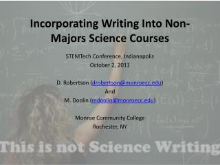 Incorporating Writing Into Non-Majors Science Courses