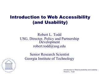 Introduction to Web Accessibility (and Usability)