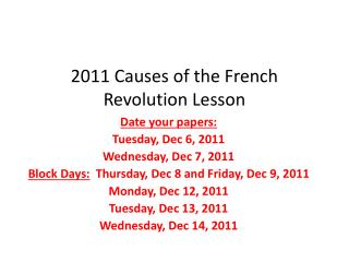 2011 Causes of the French Revolution Lesson