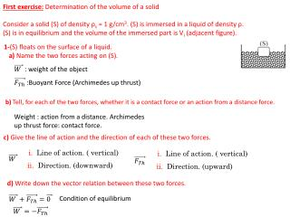 First exercise: Determination of the volume of a solid