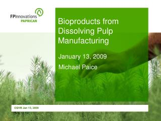 Bioproducts from Dissolving Pulp Manufacturing