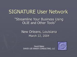 SIGNATURE User Network