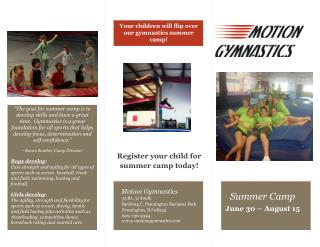 Your children will flip over our gymnastics summer camp!