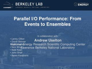 Parallel I/O Performance: From Events to Ensembles