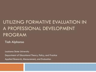 Utilizing Formative Evaluation in a Professional Development Program