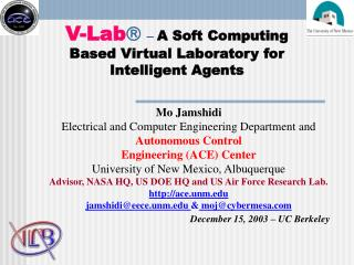 V-Lab  –  A Soft Computing Based Virtual Laboratory for Intelligent Agents