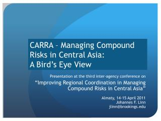 CARRA – Managing Compound Risks in Central Asia:  A Bird's Eye View