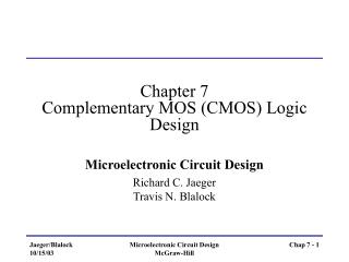 Chapter 7 Complementary MOS (CMOS) Logic Design