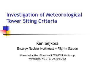 Investigation of Meteorological Tower Siting Criteria