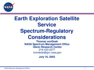 Earth Exploration Satellite Service  Spectrum-Regulatory Considerations
