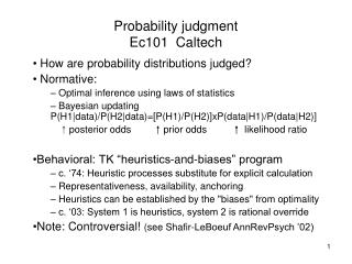 Probability judgment Ec101  Caltech