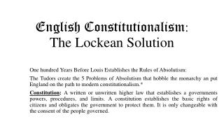 English Constitutionalism : The  Lockean  Solution