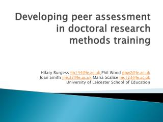 Developing peer assessment in doctoral research methods training