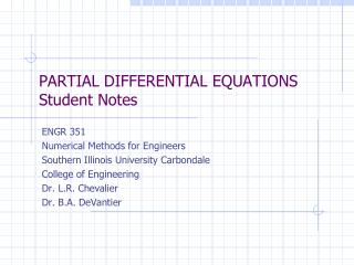 PARTIAL DIFFERENTIAL  EQUATIONS Student Notes
