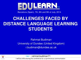 Challenges Faced by Distance Language LEARNING Students