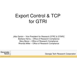 Export  Control & TCP for GTRI