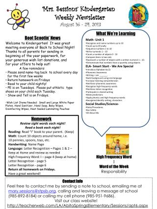 Mrs. Sessions' Kindergarten  Weekly Newsletter  August  16 - 24 , 2013