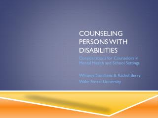 Counseling persons with disabilities