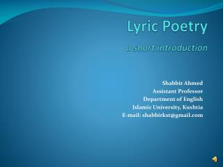 Lyric Poetry a short introduction