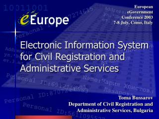 Electronic Information System for Civil Registration and Administrative Services