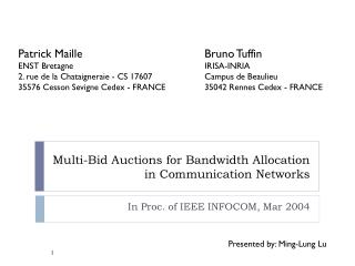 Multi-Bid Auctions for Bandwidth Allocation in Communication Networks