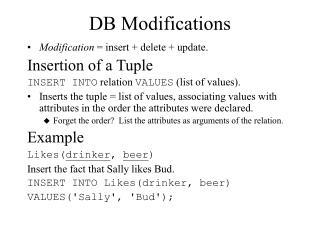 DB Modifications