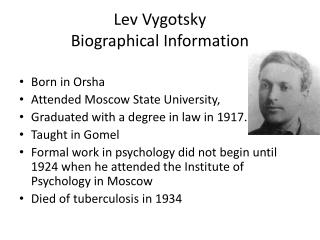 Lev  Vygotsky Biographical Information