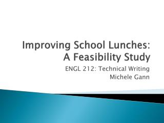 Improving School Lunches:  A Feasibility Study