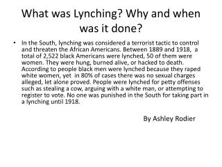 What was Lynching? Why and when was it done?