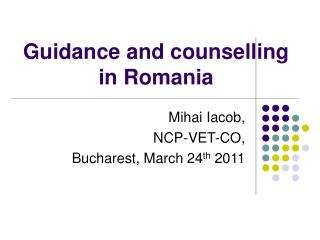 Guidance and counselling in Romania