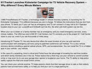 911Tracker Launches Kickstarter Campaign for T3 Vehicle
