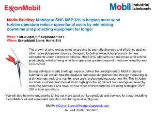 Media Briefing:  Mobilgear SHC XMP 320  is helping more wind