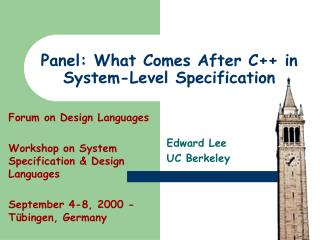 Panel: What Comes After C++ in System-Level Specification
