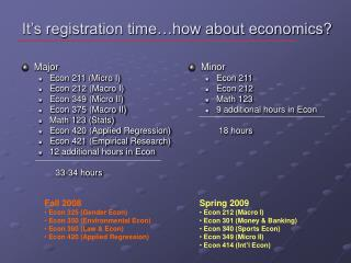 It's registration time…how about economics?