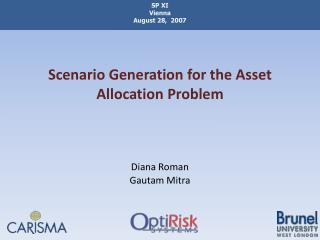 Scenario Generation for the Asset  Allocation Problem