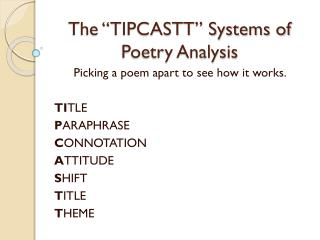 "The ""TIPCASTT"" Systems of Poetry Analysis"