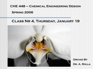CHE 448 – Chemical Engineering Design